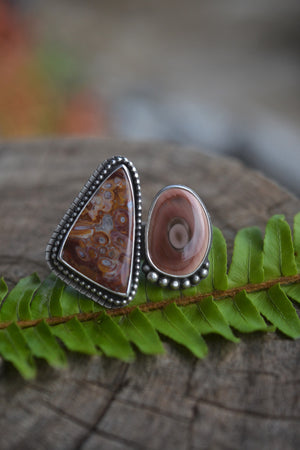 2 stone adjustable ring - Size 7.5-8.5 - Fossilized Palm Root and Royal Imperial Jasper - Size slightly adjustable