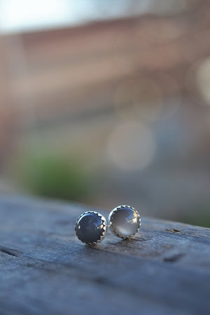 Fan Favorites - 8mm Gemstone Studs - Grey Moonstone