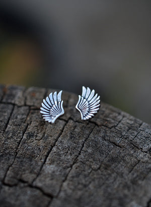 Sterling Silver Wing Earrings.