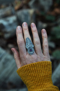 Layered Skull/Evergreen Ring - Size 7-7.5 - Amethyst