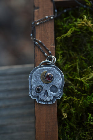 Exclusive VIP Holiday Shopping - Skull Crescent Moon Charm - Garnet and Black Onyx