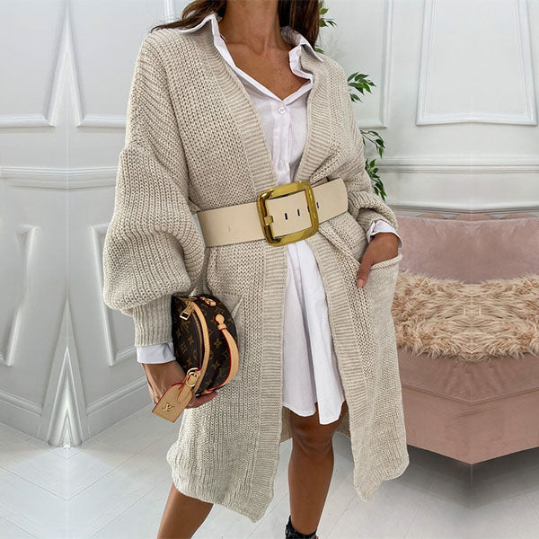 Madeline Puff Sleeves Long Knit Cardigan
