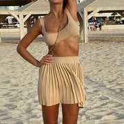 Kyla Crop Tank Pleated Skirt Knit Set