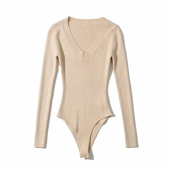 Dyana V Neck Ribbed Bodysuit