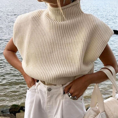 Randi Highneck Knit Crop Top