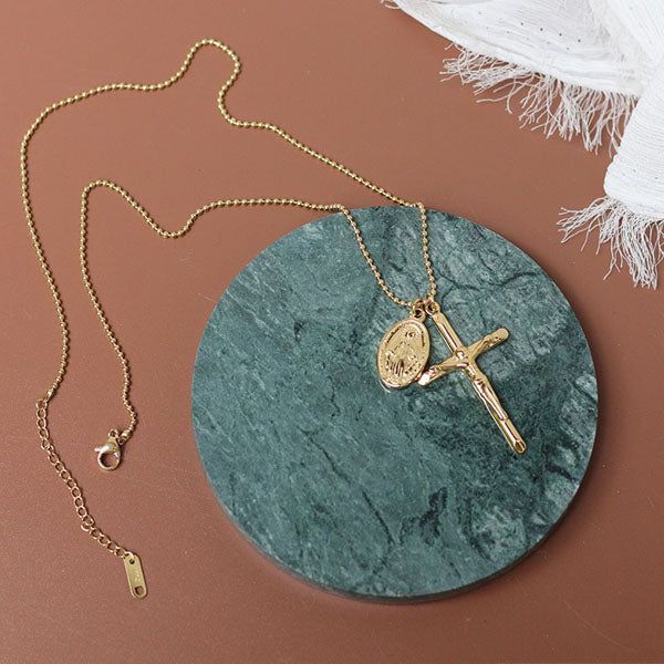 Cross with Mary Medallion Necklace