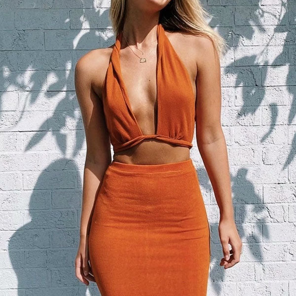 Kyler Halter Wrap Crop Top