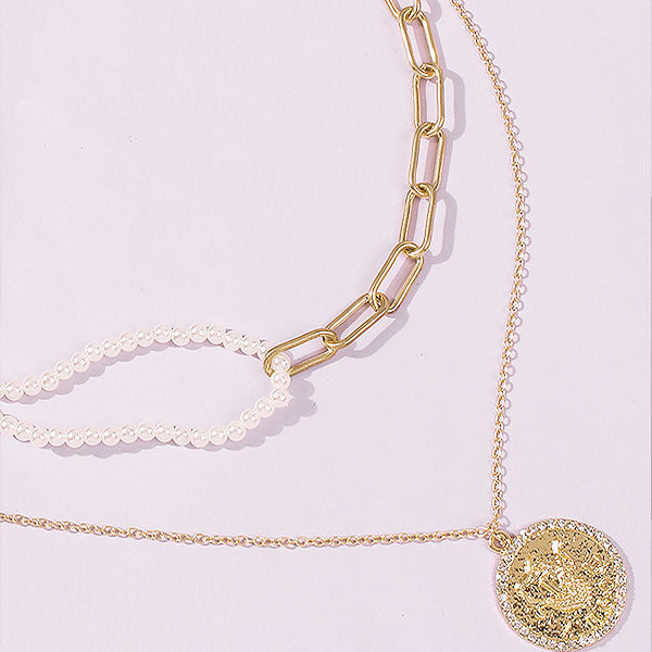 Alita Gold and Pearl Layered Necklace
