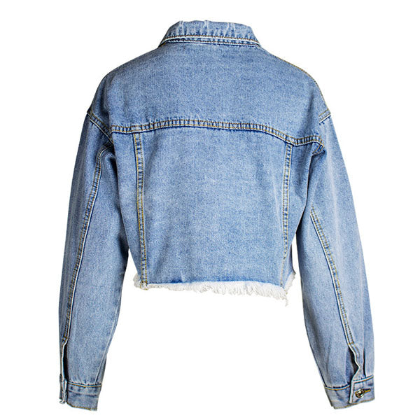 Kylie Distressed  Denim Cropped Jacket