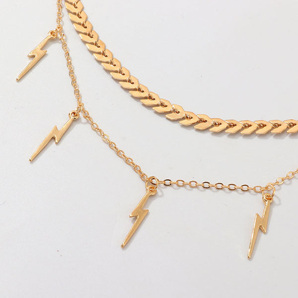 Ellie Layered Lightning Charm Necklace