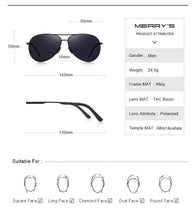 Load image into Gallery viewer, MERRYS DESIGN Men's Classic Pilot Polarized Sunglasses