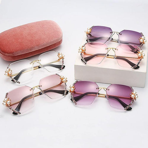 JASPEER Vintage Rimless Women's Rhinestone Sunglasses Ships From a U.S. Supplier - Sunglass Associates,Sunglasses Online, Sunglass Deals, Sunglassassociates, www.sunglassassociates.com