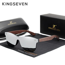 Load image into Gallery viewer, KINGSEVEN Mens Polarized Walnut Wooden Sunglasses - Sunglass Associates,Sunglasses Online, Sunglass Deals, Sunglassassociates, www.sunglassassociates.com