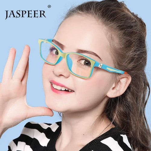 JASPEER Rectangle Kids TR90 Computer Anti Blue Eyeglasses Ships From a United States Supplier - Sunglass Associates,Sunglasses Online, Sunglass Deals, Sunglassassociates, www.sunglassassociat