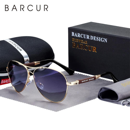 BARCUR Design Titanium Alloy Men's Pilot Sunglasses Ships From A United States Supplier