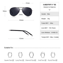 Load image into Gallery viewer, MERRYS Men's Classic Pilot HD Polarized Aluminum Sunglasses - Sunglass Associates,Sunglasses Online, Sunglass Deals, Sunglassassociates, www.sunglassassociates.com
