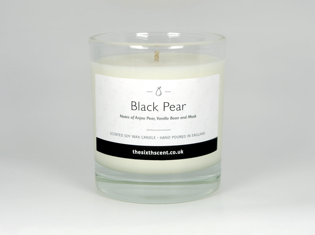 Black Pear Scented Glass Candle