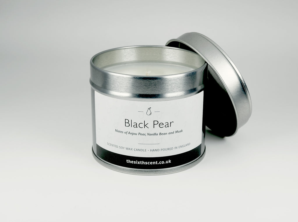 Black Pear Scented Tin Candle