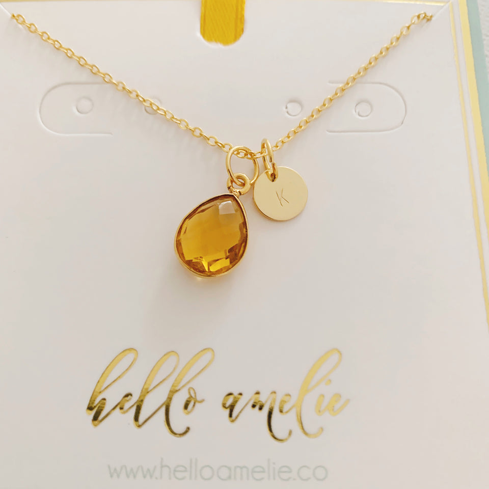 Eloise Birthstone Coin Necklace