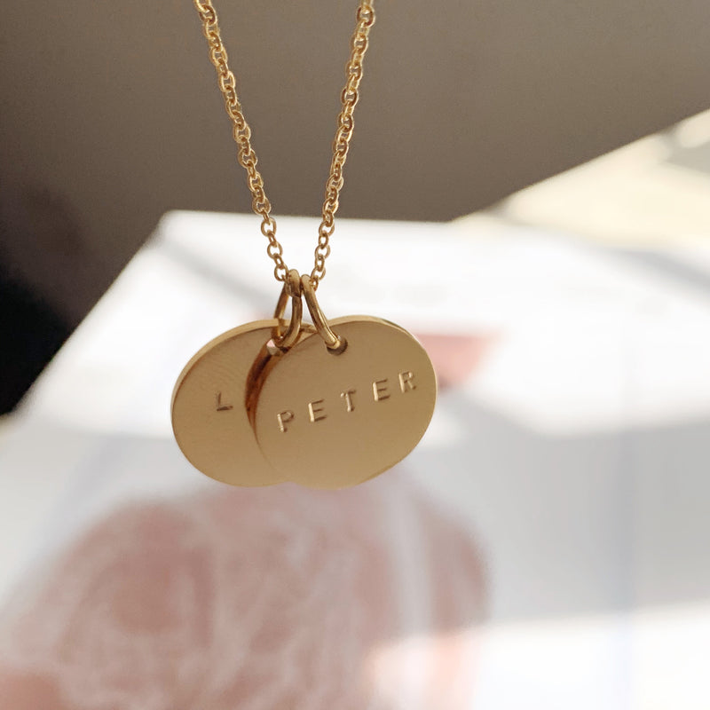 Dovetail Name Coin Necklace