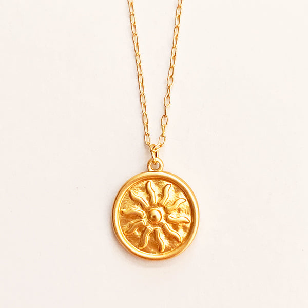 Sun Medallion Coin Necklace