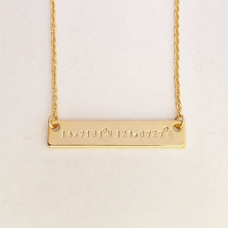 Coordinates Custom Bar Necklace - Longitude and Latitude