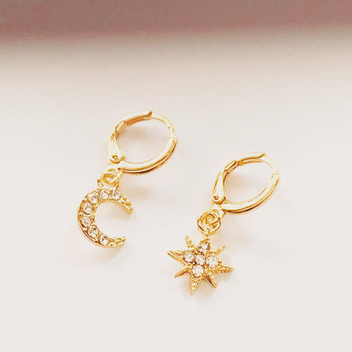 Star And Moon Vermeil Huggies