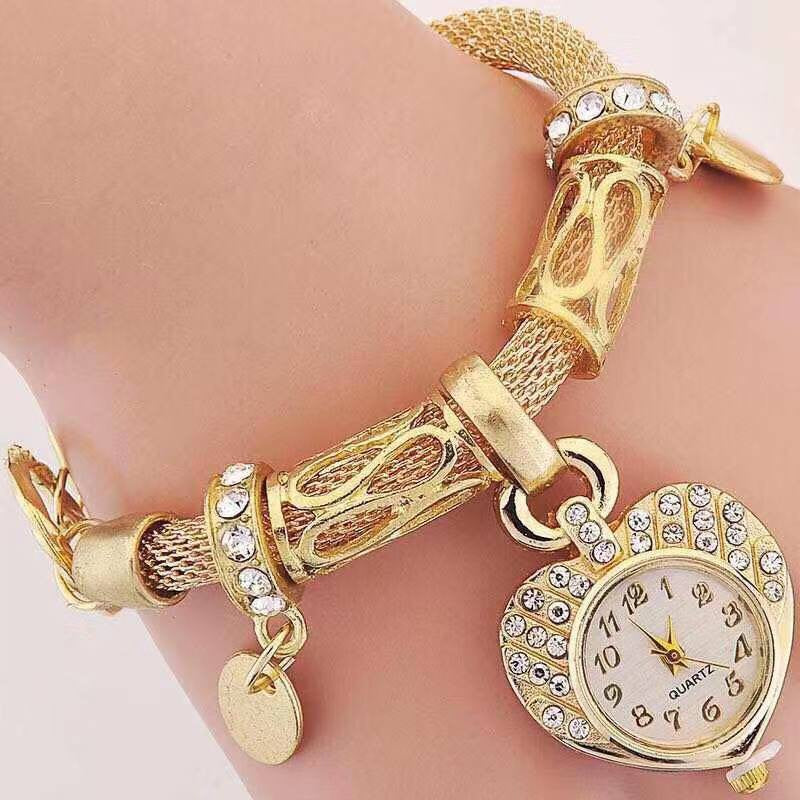 Ladies Gold Bracelet with Love Heart Watch