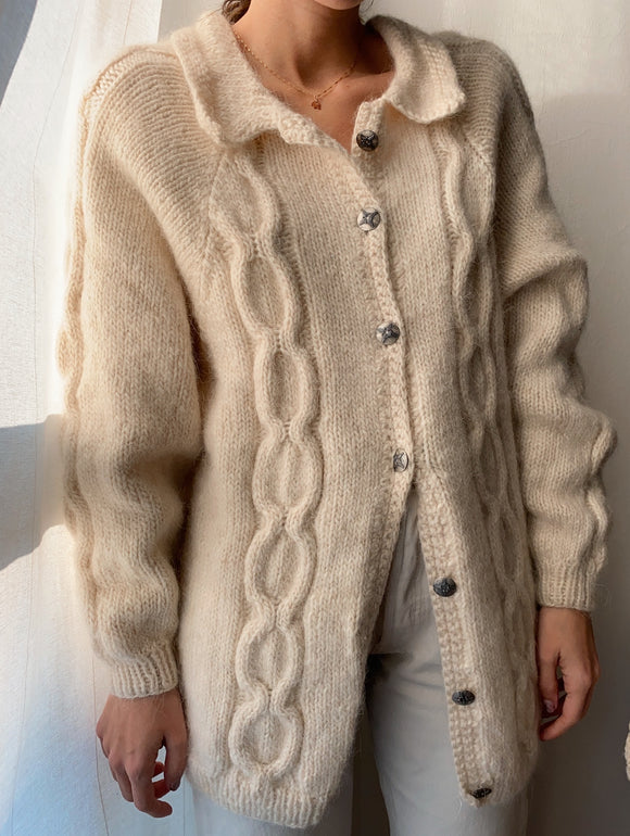 Cardigan panna con colletto