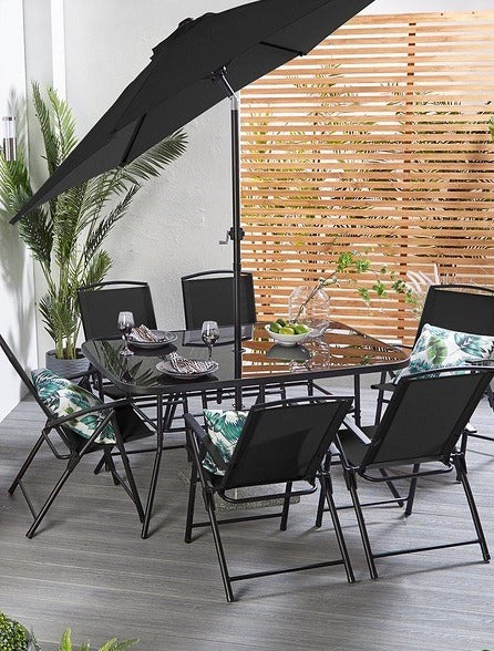 Roma Eight Piece Outdoor Patio Set Black - Mayflower Furniture