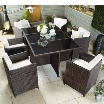 Monaco Seven Piece Rattan Effect Cube Outdoor Dining Set Brown - Mayflower Furniture
