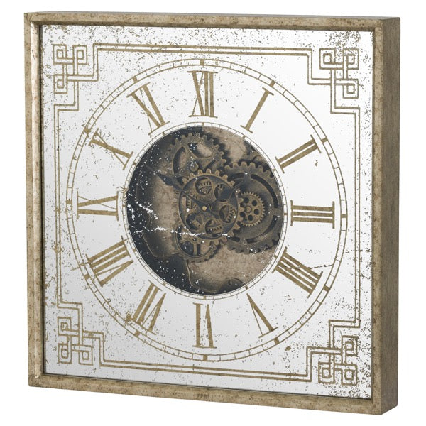 Mirrored Square Framed Clock with Moving Mechanism - Mayflower Furniture