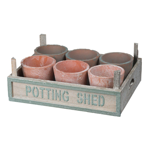 Rustic Potting Shed Small Seeding Tray With Pots - Mayflower Furniture