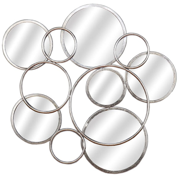Silver Circular Abstract Mirrored Wall Art - Mayflower Furniture
