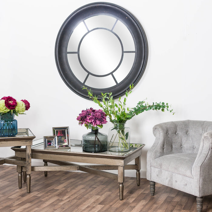 Ancor Glass Coffee Table With Mirror Detailing