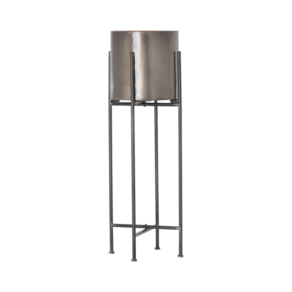 Gun Metal Grey Cylindrical Planter On Black Frame - Two Sizes