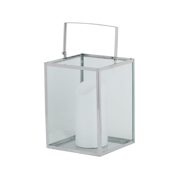 Silver Cube Contempory Lantern With Wax Led Candle - Mayflower Furniture