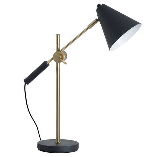 Black And Brass Adjustable Desk Lamp With Cone Shade - Mayflower Furniture