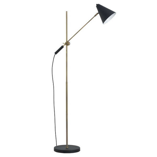 Black And Brass Adjustable Floor Lamp With Cone Shade - Mayflower Furniture