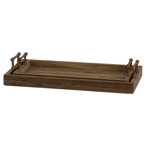 Set Of Two Rustic Trays With Metal Handle - Mayflower Furniture