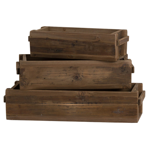 Rustic Wooden Set Of Three Storage Troughs - Mayflower Furniture