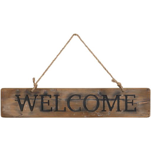 Welcome Rustic Wooden Message Plaque - Mayflower Furniture