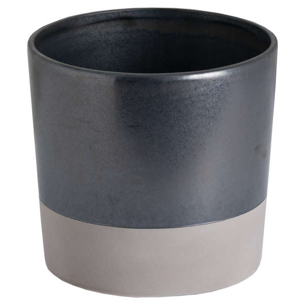 Large Metallic Grey Ceramic Planter