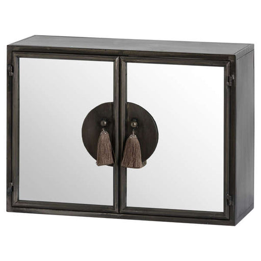 Silver Mirrored Wall Cabinet With Tassel Handles - Mayflower Furniture