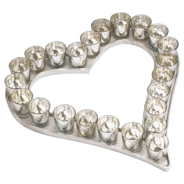 Cast Aluminium Heart Votive Tray With Mercury Glass - Two Sizes