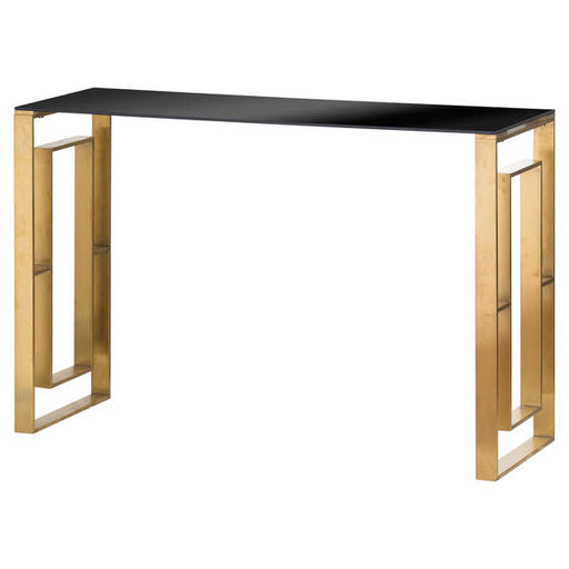 The Edwin Stainless Console Table In Brushed Brass - Mayflower Furniture