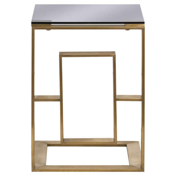The Edwin Stainless Sofa Table In Brushed Brass - Mayflower Furniture