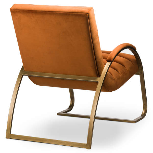 Burnt Orange And Brass Ribbed Ark Chair - Mayflower Furniture