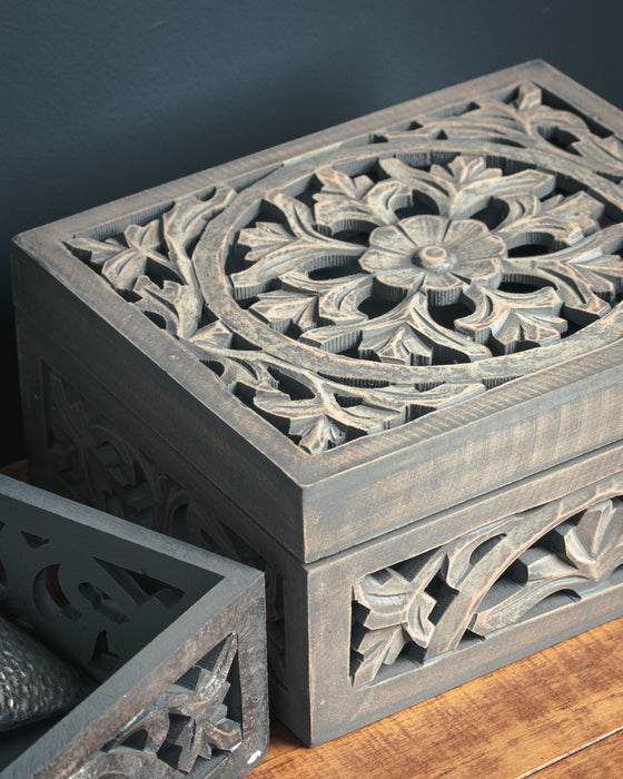 Lattice Carved Grey Wash Wooden Box
