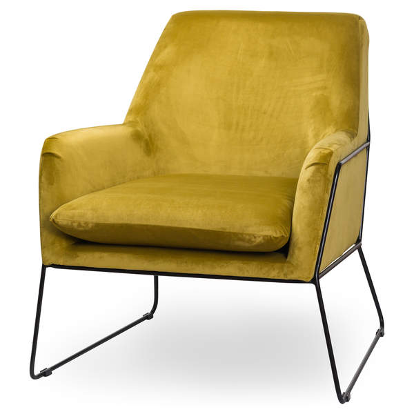 Eva Framed Mustard Velvet Club Chair - Mayflower Furniture